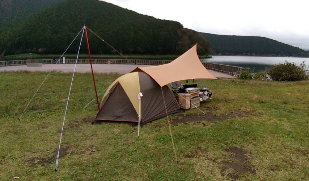 田貫湖でテントを小川張り